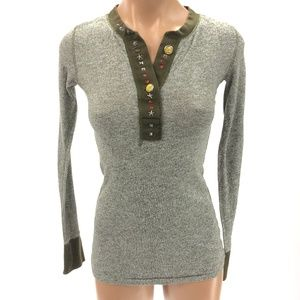 FREE PEOPLE  XS Thermal Henley Heather Gray Green